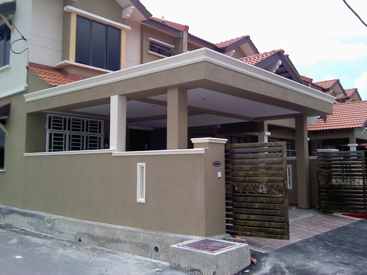 Car Porch Extension + Fencing Wall + Auto Gate + Floor Tiles