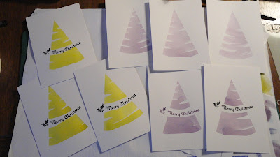 Watercolour Christmas tree shapes, some with sentiments