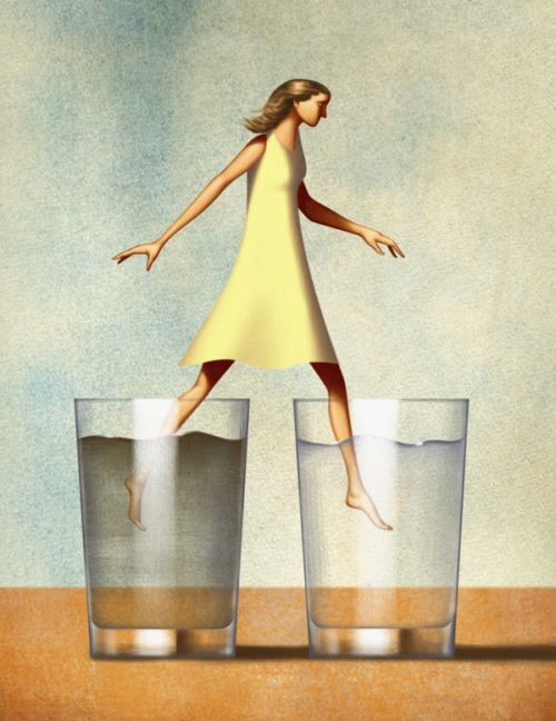 Jim Tsinganos ilustrações surreais oníricas natureza revista Caminhando entre copos