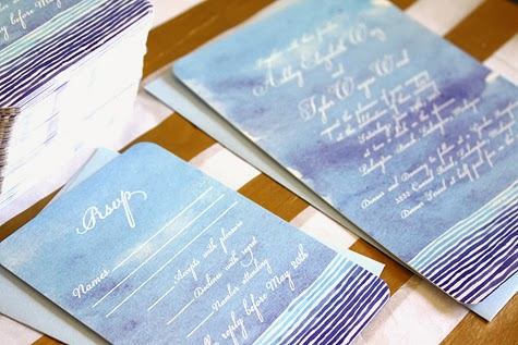 Watercolor Beach Wedding Invitation by Concertina Press