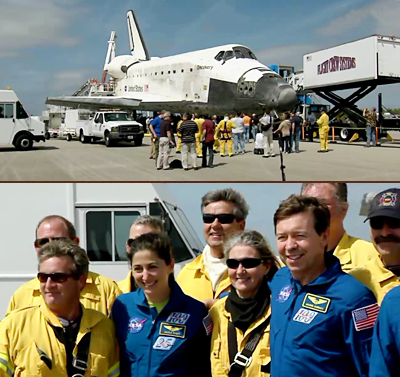 Pic 22: Shuttle Discovery's technical team from KSC pose with the astronauts. NASA, 2011.