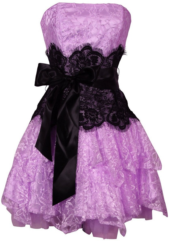 Purple And Black Lace Prom Dresses - Missy Dress