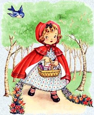 Dibujo de Caperucita Roja en el bosque