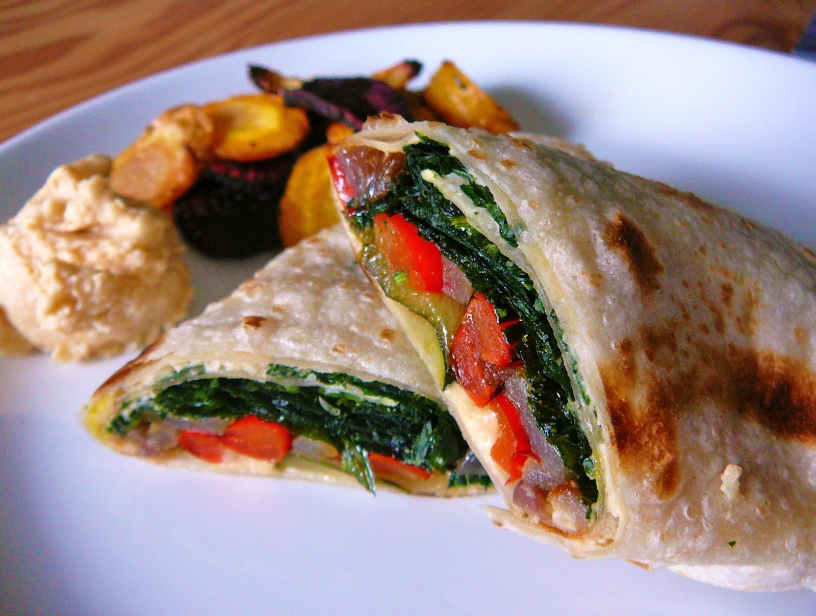 ... Vegetable Wrap with Oven-Fried Spinach and Caramelized Onion Hummus