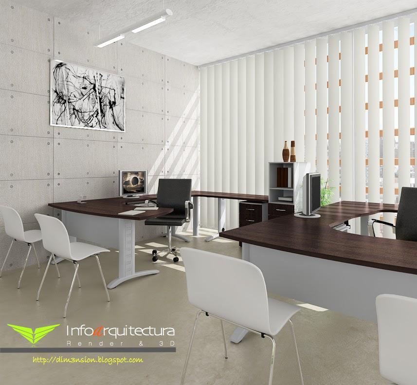 Dise o de oficina render infoarquitectura for Diseno de oficinas 3d