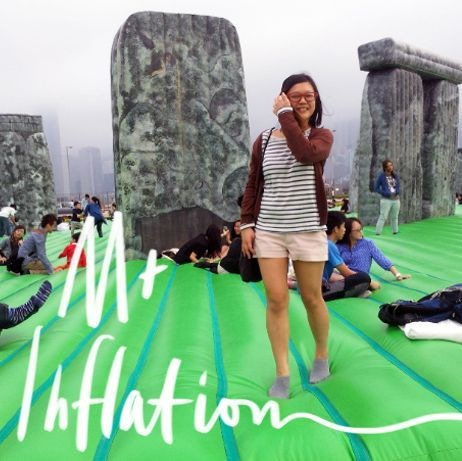 Girl at Stonehenge at M+ Inflation HK