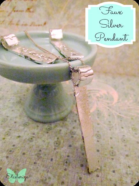 polymer clay silver pendant, DIY silver pendant, DIY jewellery, DIY clay jewellery, silver leaf