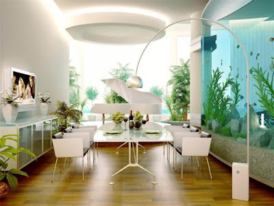 Home decorate with big aquarium