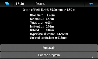 Python Depth of Field calculator on Nokia N900