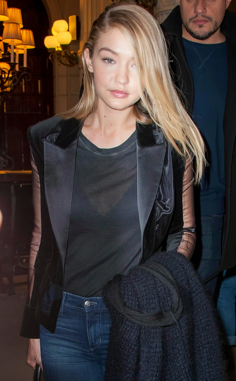 Fashion Model @ Gigi Hadid - SeeThru to bra at Balmain fashion show in Paris