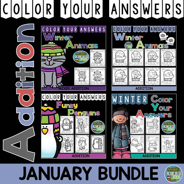 Fern Smith's Classroom Ideas Winter Math: Winter Fun! Winter Math January Bundle for Addition Facts at TeachersPayTeachers. #TpT