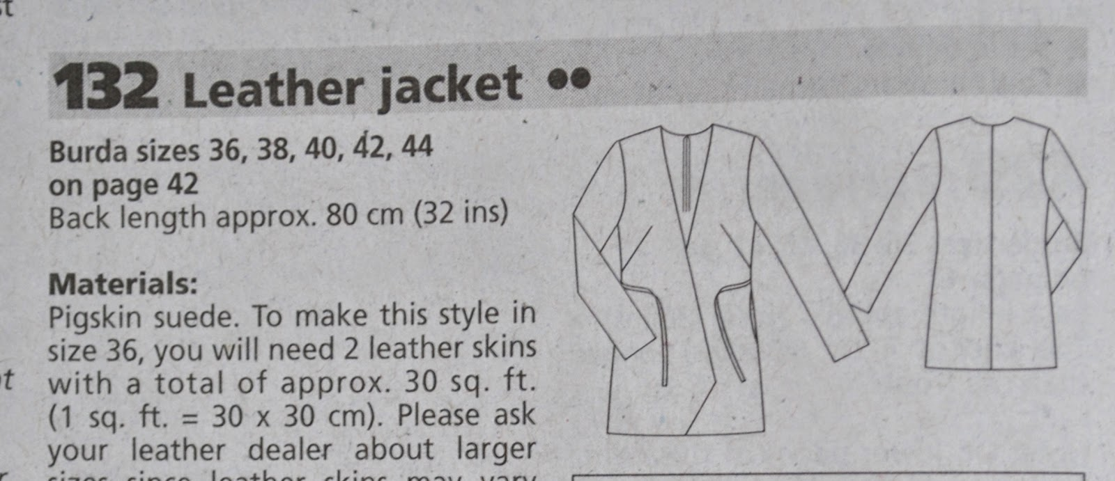 Unstructured Jacket Patterns The Pattern is Jacket 132 From