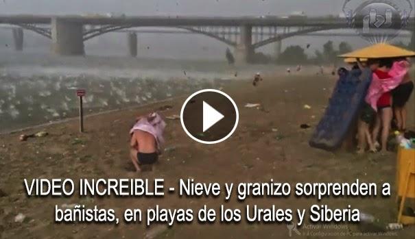 VIDEO INCREIBLE - Nieve y granizo sorprenden a bañistas,en playas de los Urales y Siberia