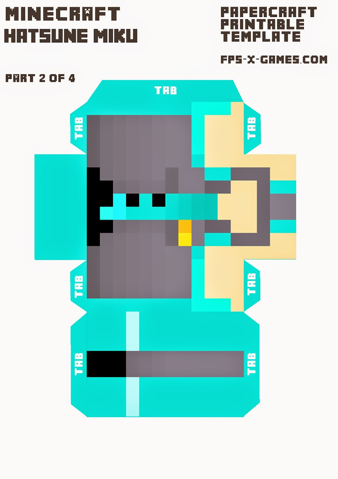 Large Printable Hatsune Miku Minecraft Character 2 of 4