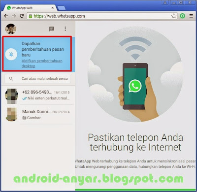 Aktifkan pemberitahuan WhatsApp Web di browser