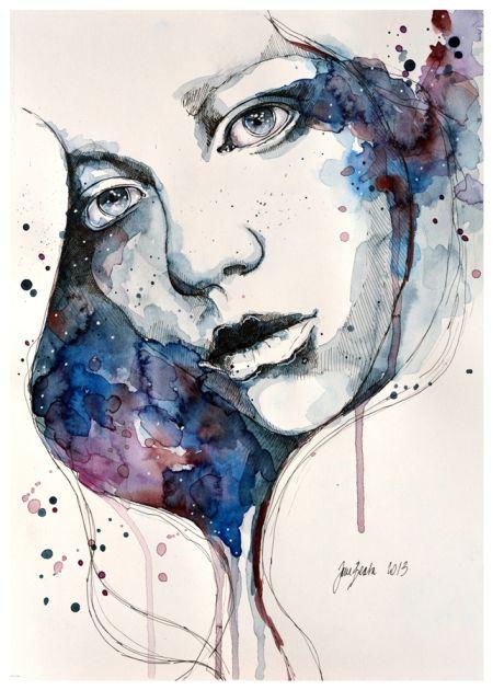Jana Lepejova jane-beata deviantart pinturas aquarela mulheres olhares femininos Janela
