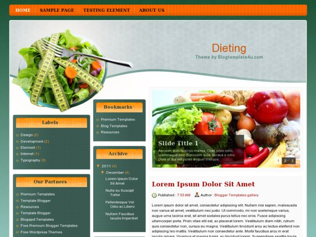 Dieting Blogger Template