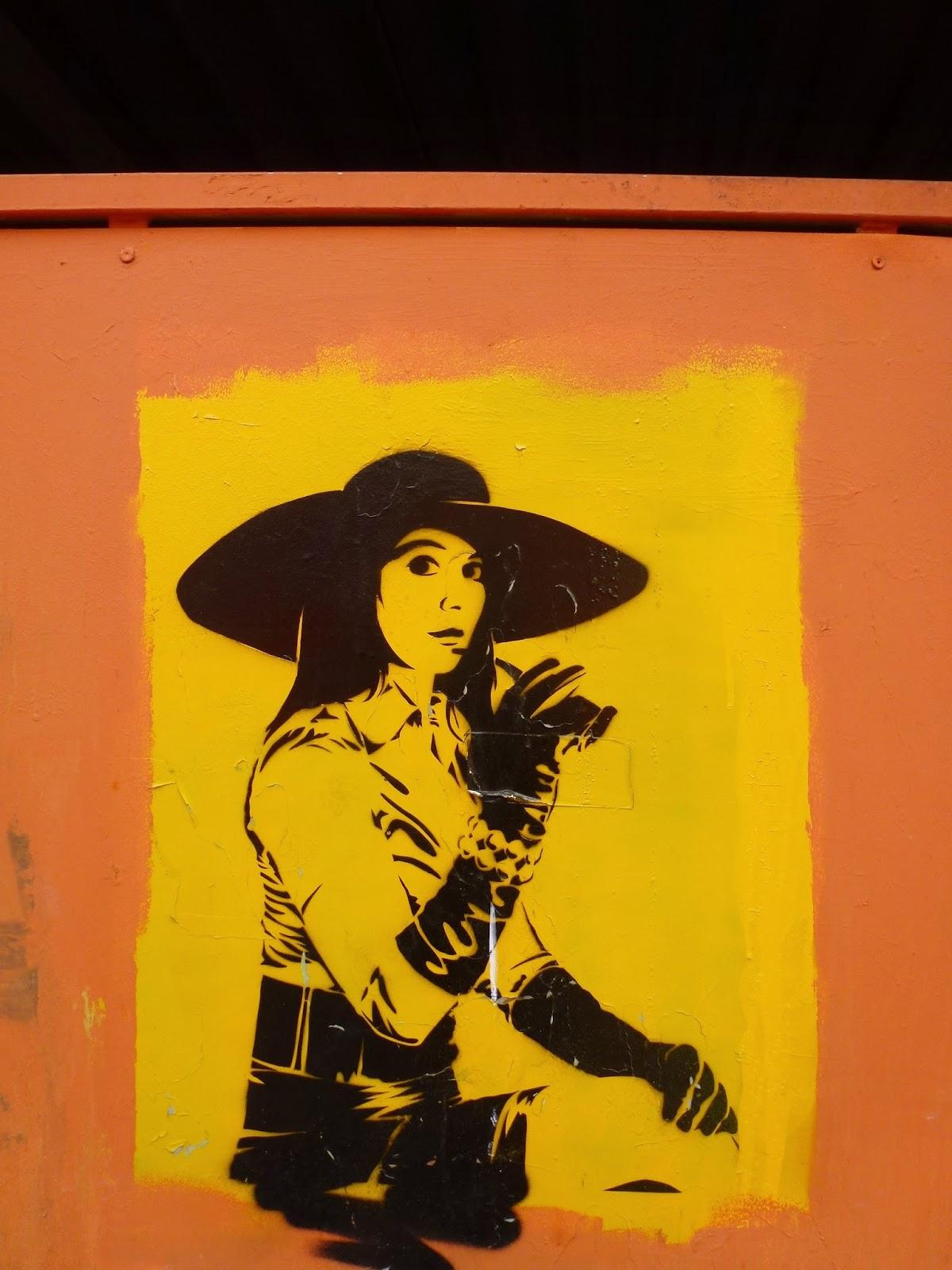 Stencil eines Cowgirl, Kunstpark Ost, München
