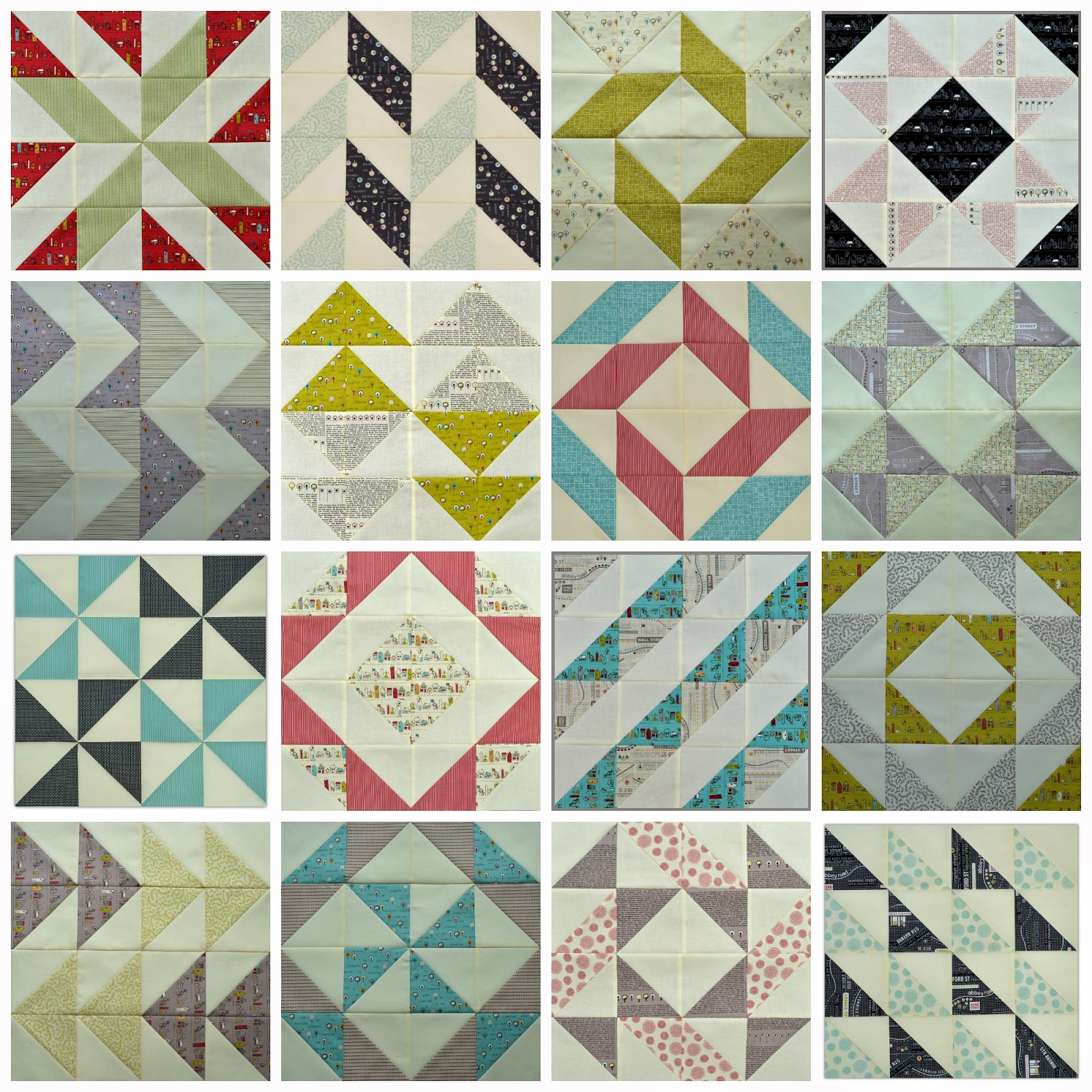 layer cake sampler half square triangle blocks