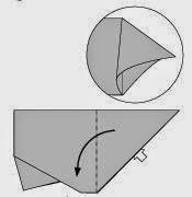 Bước 6: Từ vị trí mũi tên, mở lớp giấy trên cùng ra, kéo và gấp lớp giấy về phía bên trái.