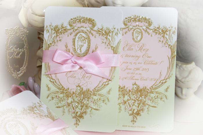Laduree Inspired Mint Macaron Marie Antoinette Cameo Event Invitations
