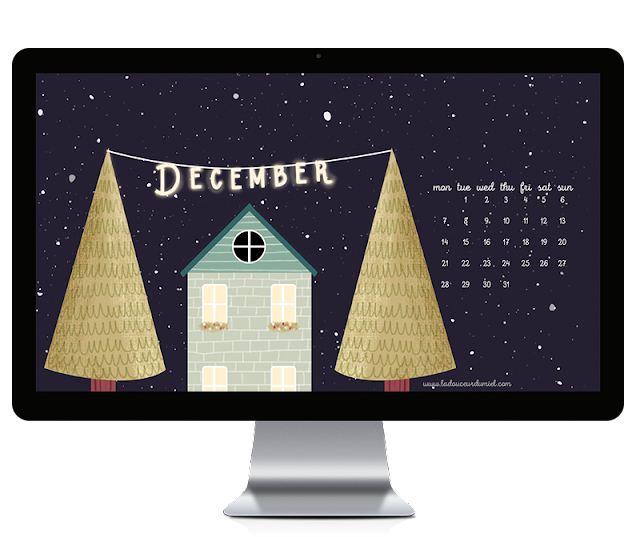 December 2015 illustrated desktop wallpaper free to download, christmas time with a cute house and two trees with lights