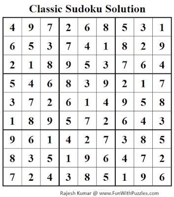 Classic Sudoku (Fun With Sudoku #41) Solution