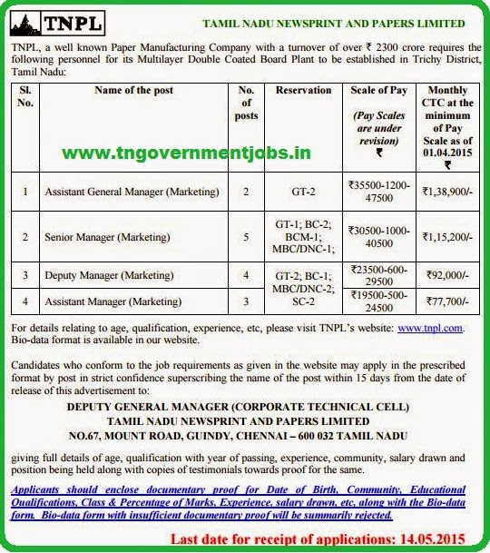 Tamilnadu Newsprints and Papers Ltd, Chennai [www.tngovernmentjobs.in]