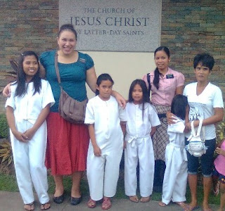 Baptism candidates with Sister Missionaries
