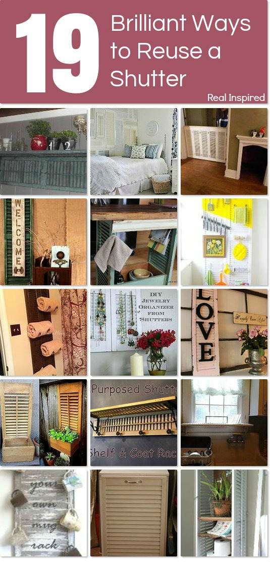 19 Brilliant Ways to Reuse a Shutter. Shutter upcycle/recycle