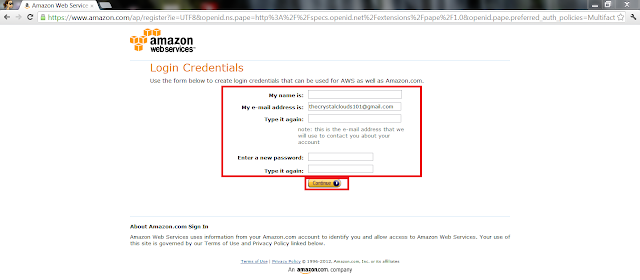 AWS Create Account - Login Credentials