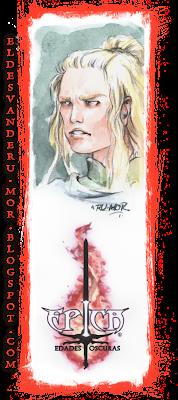 Acuarela (marcapáginas) del personaje Drasus del juego de cartas ÉPICA: Edades Oscuras realizado por ªRU-MOR. Fantasía medieval