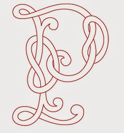 P Celtic calligraphy monogram tattoo stencil
