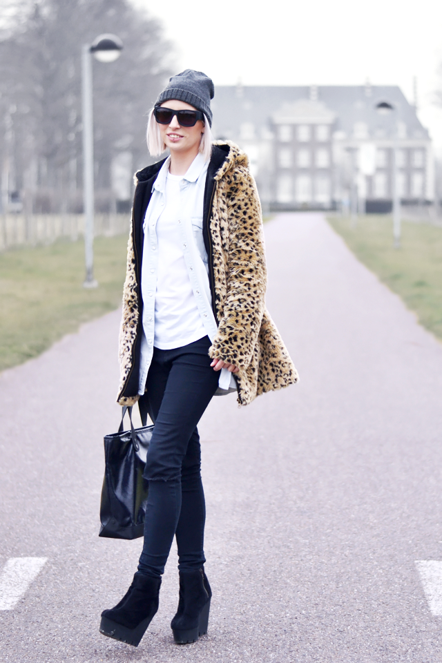 Outfit, fashion blogger, leopard, faux fur, zara, alexander wang, sunglasses, h&m, denim, cheap monday