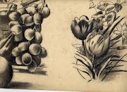 Otro de Adosinda García, flores y uvas a carboncillo