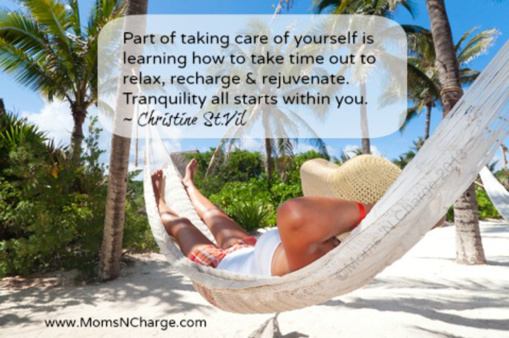 """""""Part of taking care of yourself is learning how to take time out to relax, recharge & rejuvenate. Tranquility all starts within you."""" ~ Christine St.Vil Picture of a woman relaxing in a hammock on a beach"""