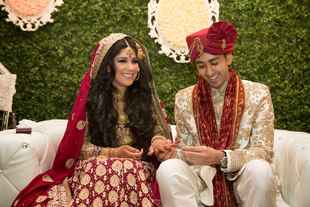 south asian wedding, dupatta, bride and groom, ring exchange