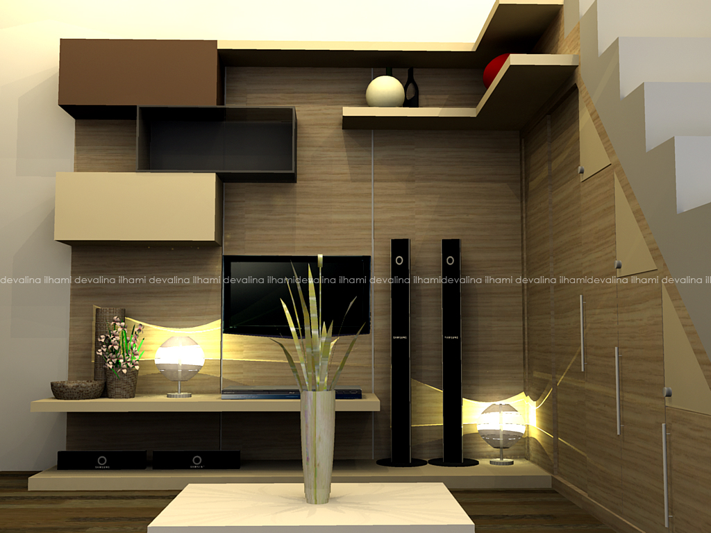 Interior design television space with box composition for Interior design in a box
