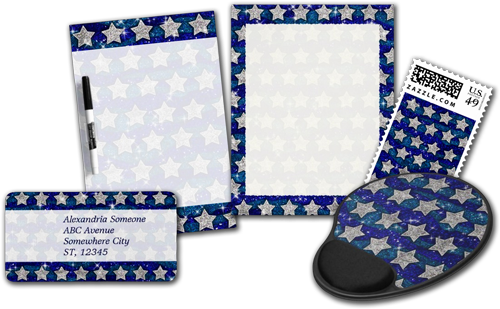 Glitter Silver Stars Glitter Blue Waves Sparkle Office Products