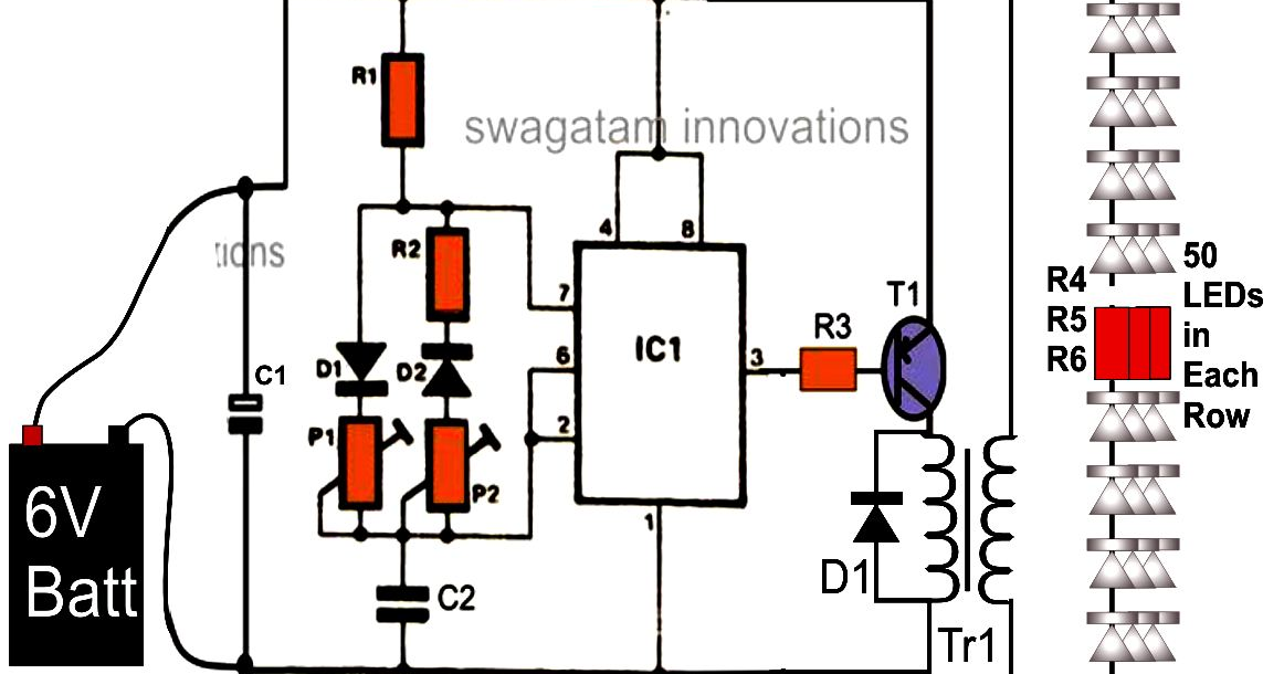 wiring pre circuit diagram  illuminating 100 leds from 6 volt battery