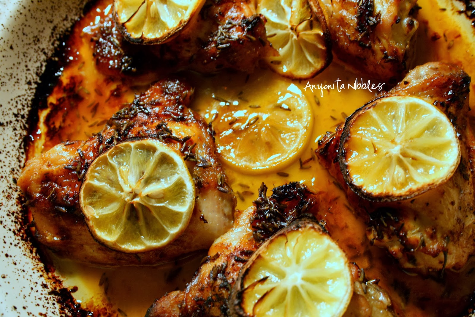 A tray of succulent and juicy lemon and lavender oven chicken | Anyonita Nibbles