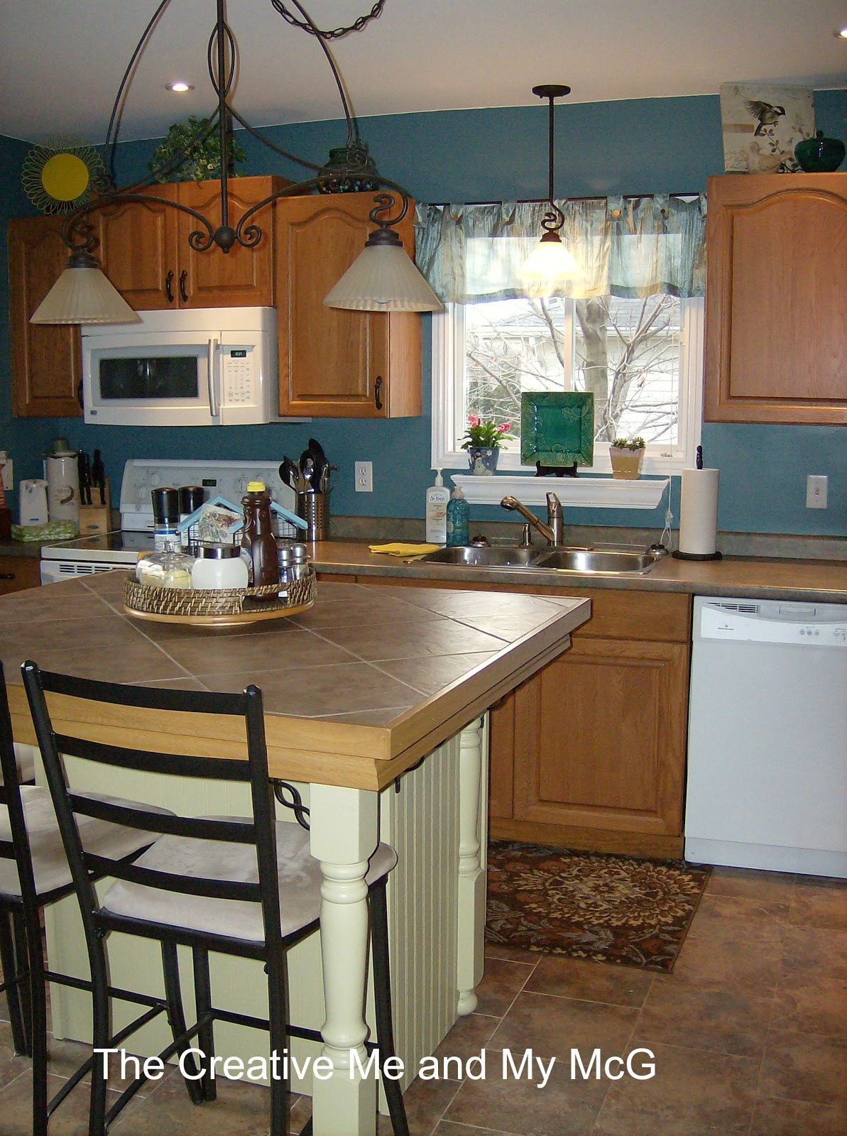 Walls With Cherry Cabinets Kitchen Tour Blue