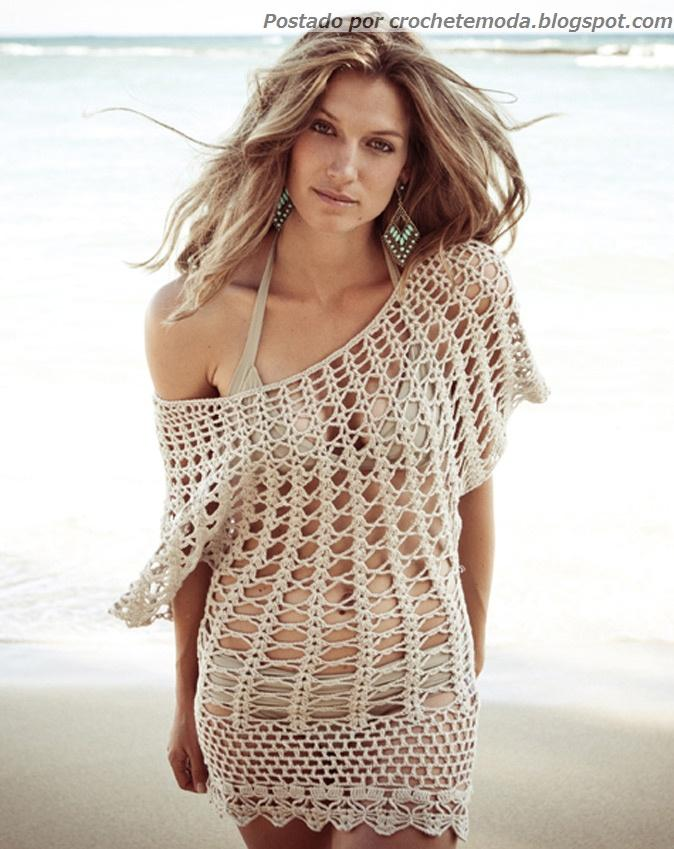 Free Online Crochet Top Patterns : Crochetemoda Blog: Sa?da de Praia de Crochet