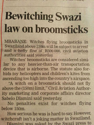 Swaziland, flying, minimum safe altitude, witch, broom, FAA