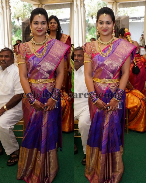 Purple Silk Saree Ruffled Blouse