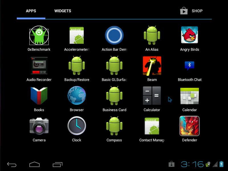 Android-x86 4.0.4 ICS RC2 - Menu Screen