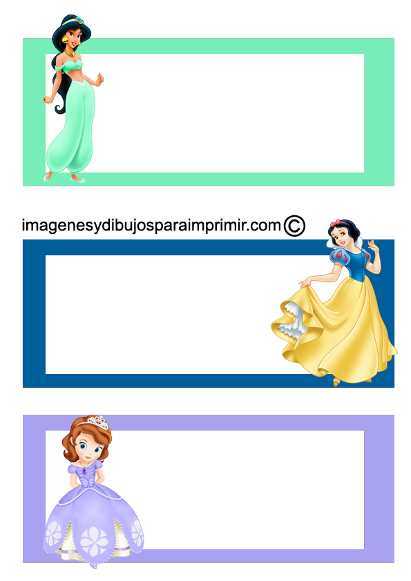 Etiquetas Cuadernos Princesas Disney Para Imprimir