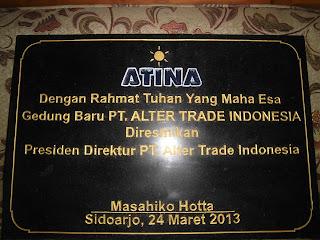 Prasasti Peresmian gedung  PT Alter Trade Indonesia