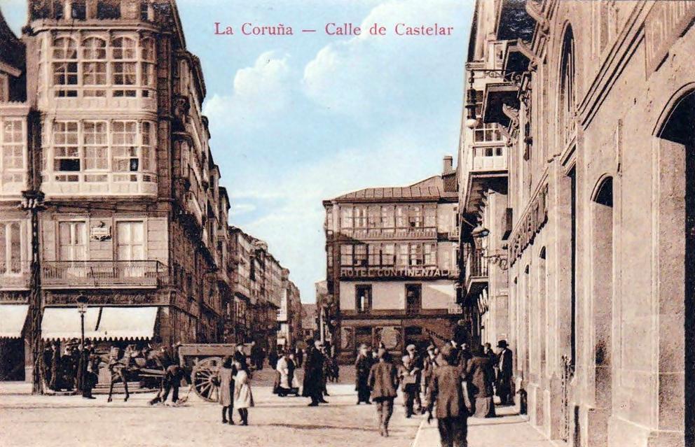 Postales antiguas de galicia calle de castelar a coru a for Calle castelar