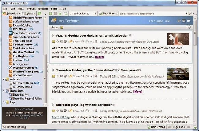 برنامج مجانى مميز جدا يمكنك من متابعة المشاركات لحظة بلحظة من اى عدد من المواقع  FeedDemon 4.5 rss